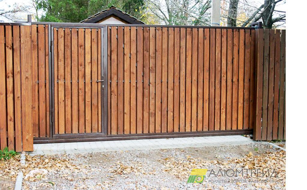 деревянные ворота откатные