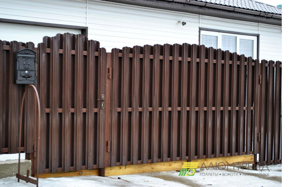 металлические ворота из штакетника купить