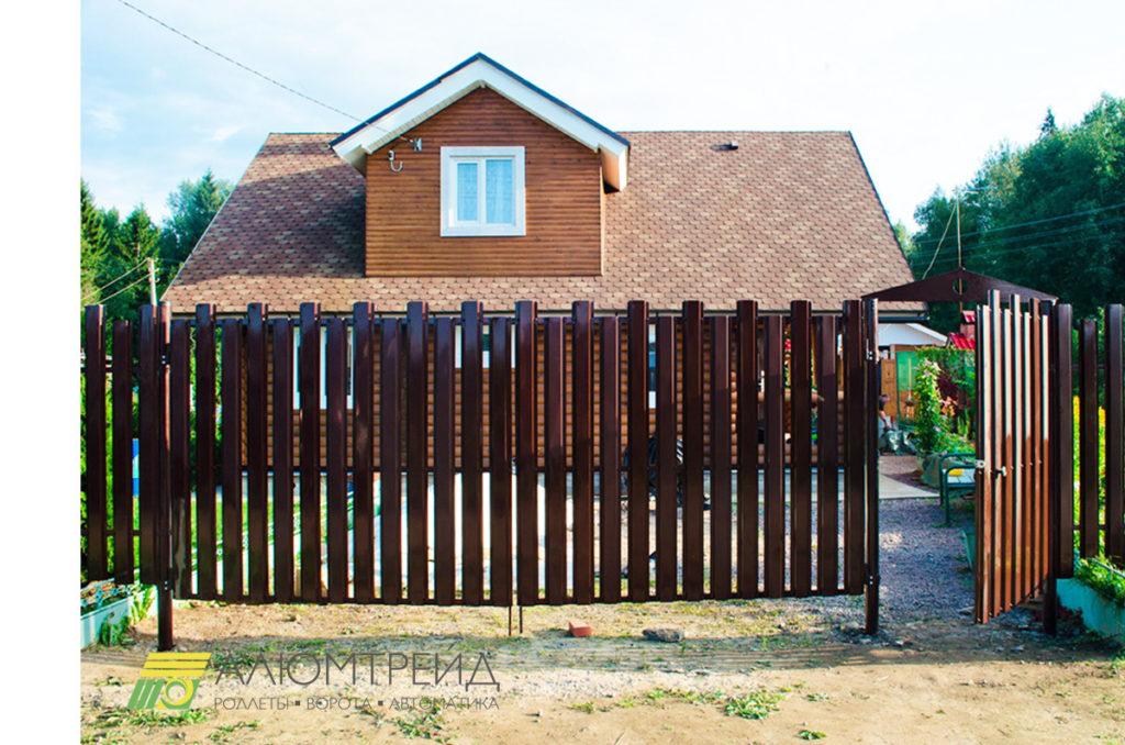 въездные ворота с калиткой