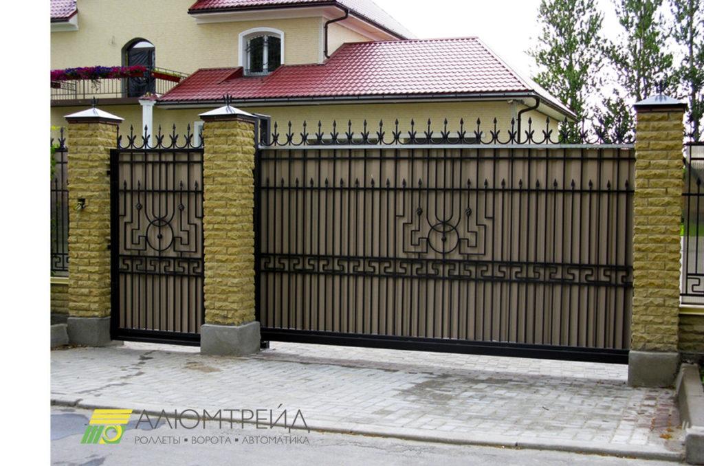 откатные ворота с калиткой и монтажом купить